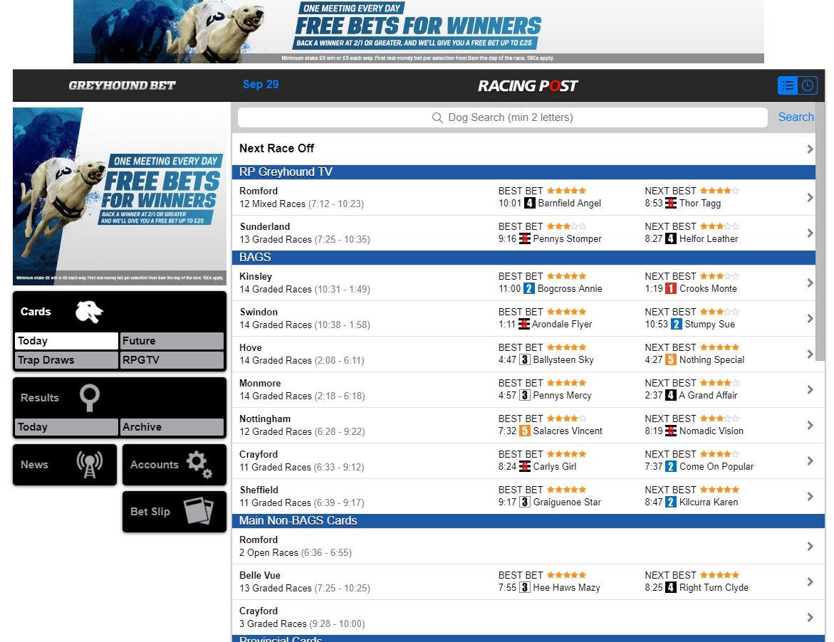 Greyhound Bet Web Site