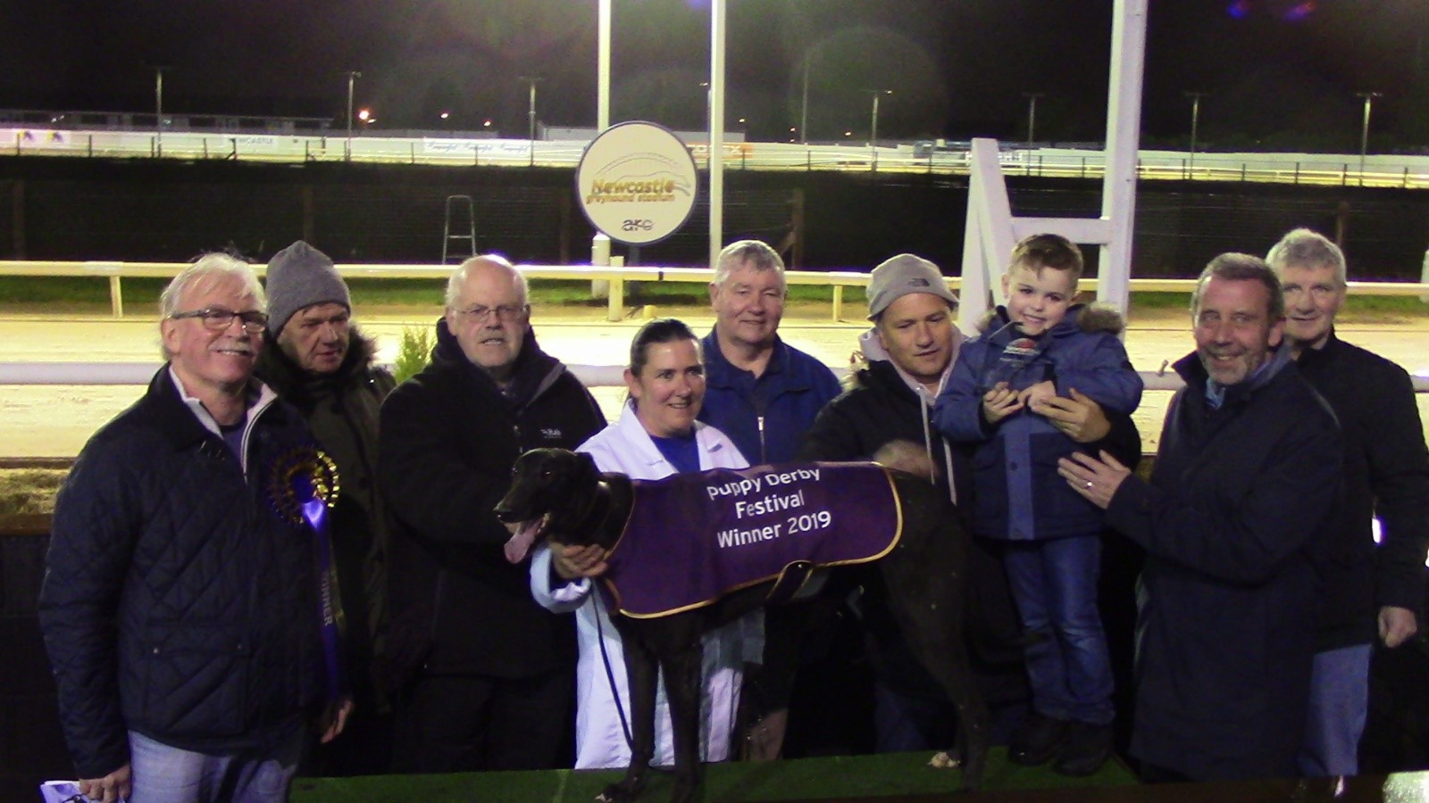 Droopys Reel wins at Newcastle on 21 December 2019 With Owners Mick Bellas, Kenny Campbell, Don Thompson  Billy Thomson